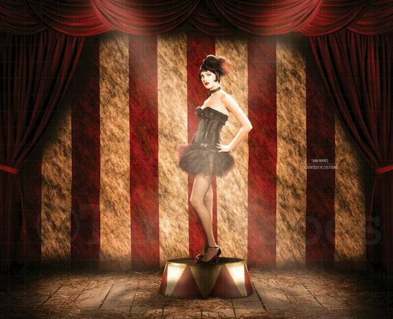 Circus Stage with Lion Stand Digital Background Backdrop