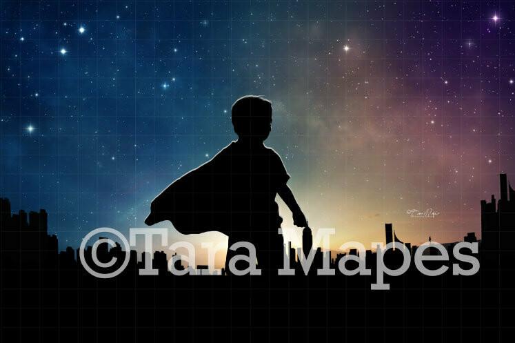 Superhero Silhouette City Digital Background / Backdrop