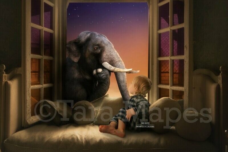 Elephant in Window Magical Fantasy Creamy Magical Digital Background Backdrop