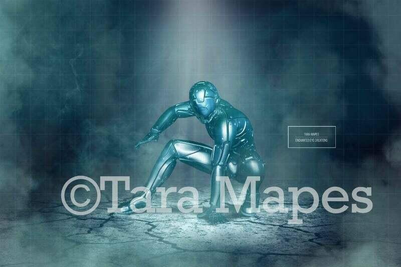 Superhero Punch Cracked Ground Digital Background Backdrop