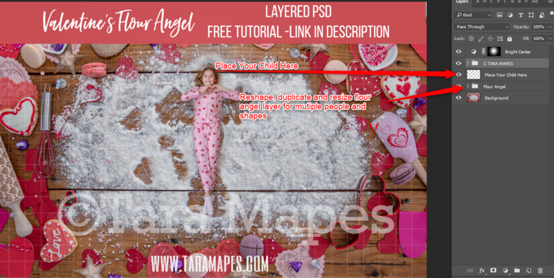 Valentine Digital Background -  Flour Angels - Layered PSD Christmas Cookie  - Christmas Digital Background
