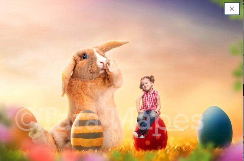 Easter Bunny with Painted Eggs  - Colorful Digital Background / Backdrop