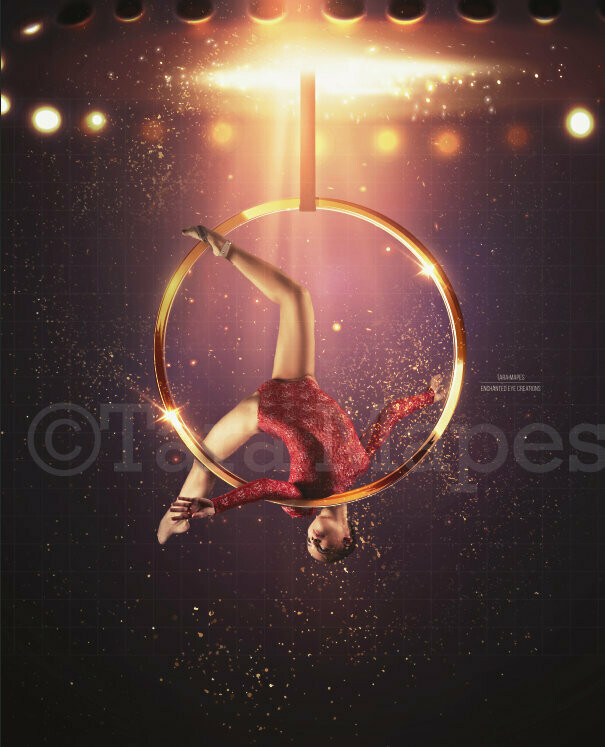Circus Ring - Gold Hoop and Lights - Acrobat Ring - Fair - Carnival Show -Digital Background Backdrop