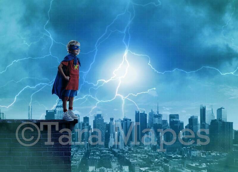 Super Hero over Stormy City Digital Background