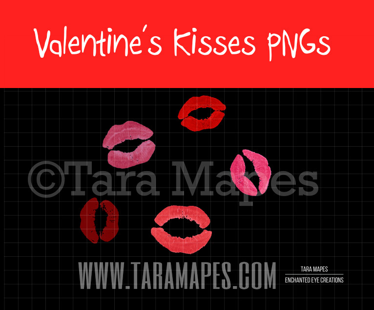 5 Pack of Kisses PNG - Valentine's Kisses - Lips PNG - Kiss Clip art