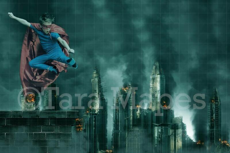 Super Hero Over Burning City Digital Background