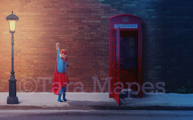Superhero in Telephone Booth Superman Digital Background
