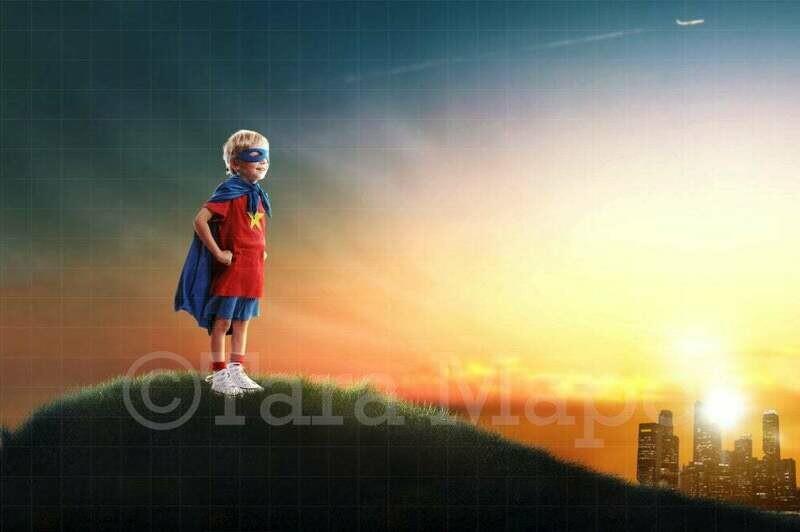 Superhero on Hill over City Digital Background / Backdrop