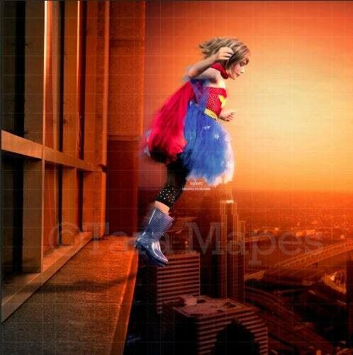 Superhero Ledge over City- Rooftop Cityscape- Cincinnati - Digital Background Backdrop