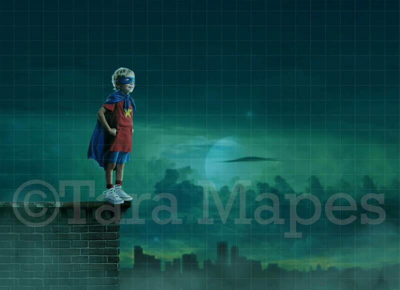 Super Hero over City at Night Digital Background