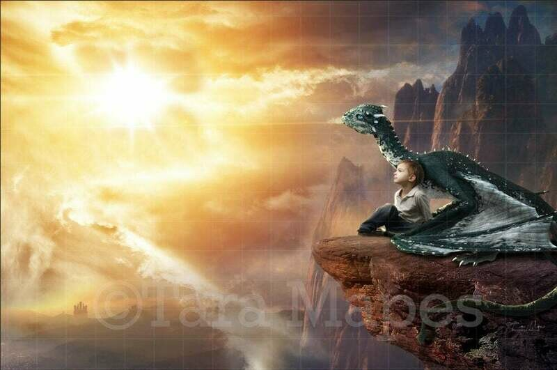 Dragon on a Cliff Digital Background / Backdrop