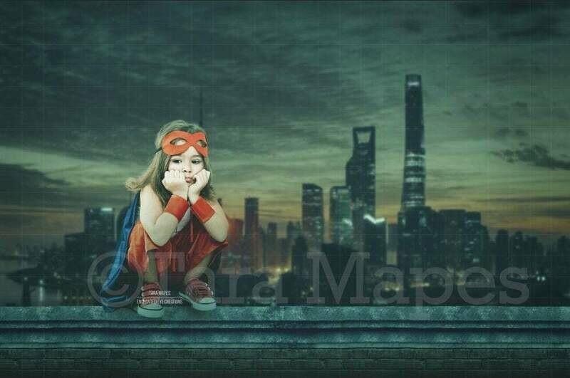 Superhero Over Burning City Digital Background Backdrop