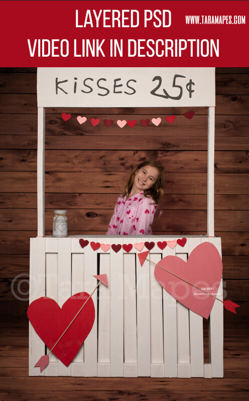 Valentine Kissing Booth -  Valentines Day - Layered PSD Digital Background
