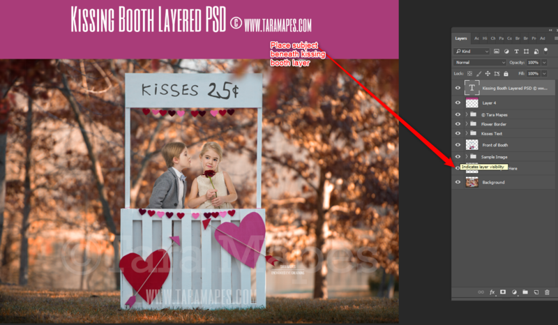 Valentine Kissing Booth Outdoors -  Valentines Day - Layered PSD Digital Background
