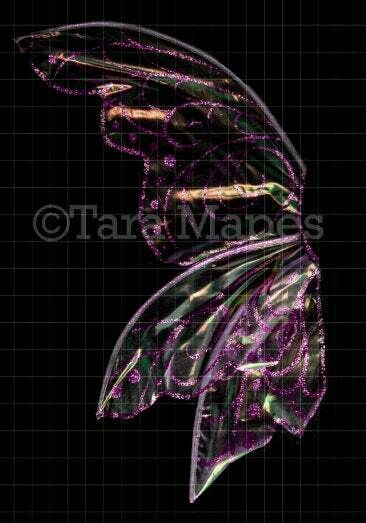 Iridescent Pink Fairy Wing Overlay - Rainbow Glittery Fairy Wing Overlay - Fairy Wing Digital Wings - Sparkles Fairy Wing