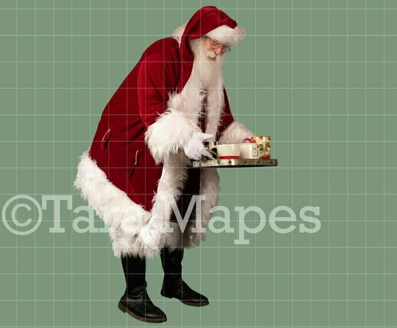 Santa Overlay PNG - Santa With Hot Chocolate  - Cocoa - Christmas Overlay - Santa PNG - Christmas Overlay