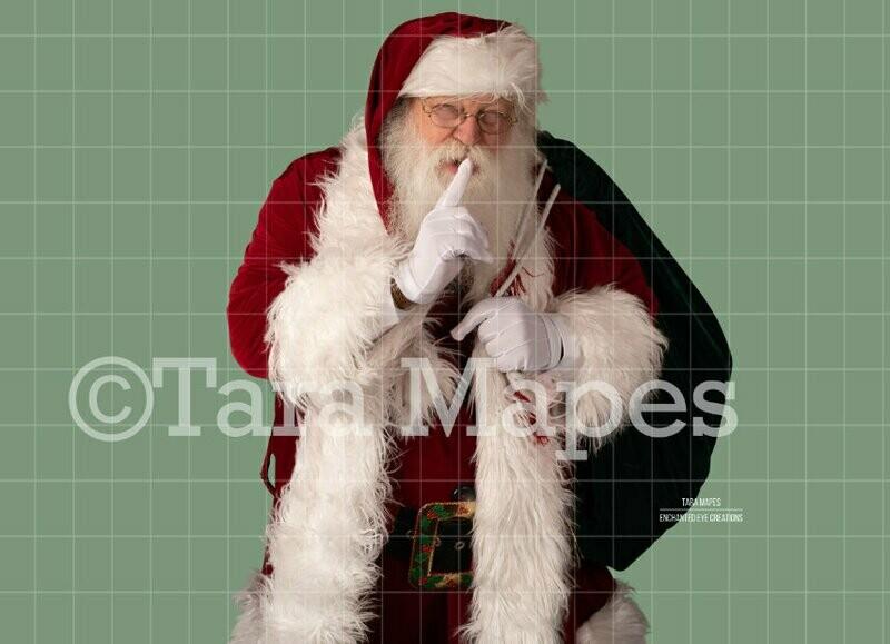 Santa Overlay PNG - Santa Saying Shhh - Santa Cut Out  - Christmas Overlay - Santa PNG - Christmas Overlay