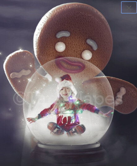 Gingerbread Man Looking in Globe - Gingerbread Man - Gingerbread Man Funny- Christmas Holiday Digital Background Backdrop