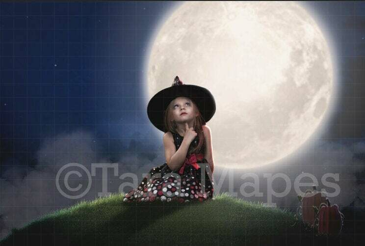 Foggy Hill and Moon Halloween Digital Background Backdrop