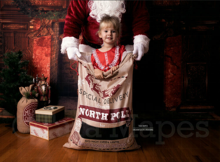 In Santa's Sack- Santa's Bag - Santa by Fireplace - Winter Holiday - Christmas Digital Background Backdrop