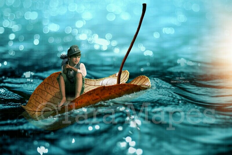 Leaf Boat in Water Ocean Digital Background Backdrop