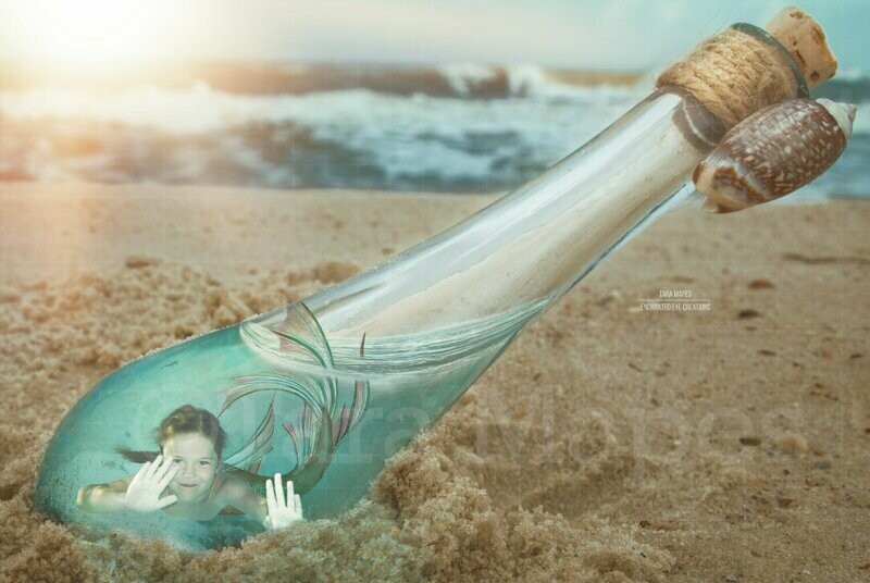 Message in a Bottle Mermaid in a Bottle in the Sand on a Beach Digital Background Backdrop