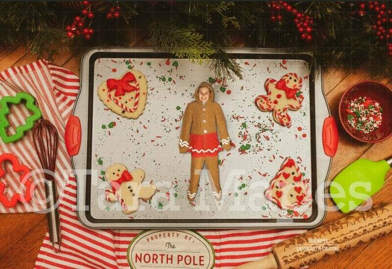 Gingerbread Cookie - Christmas Cookies on Pan - Gingerbread Man Fun- Christmas Holiday Digital Background Backdrop