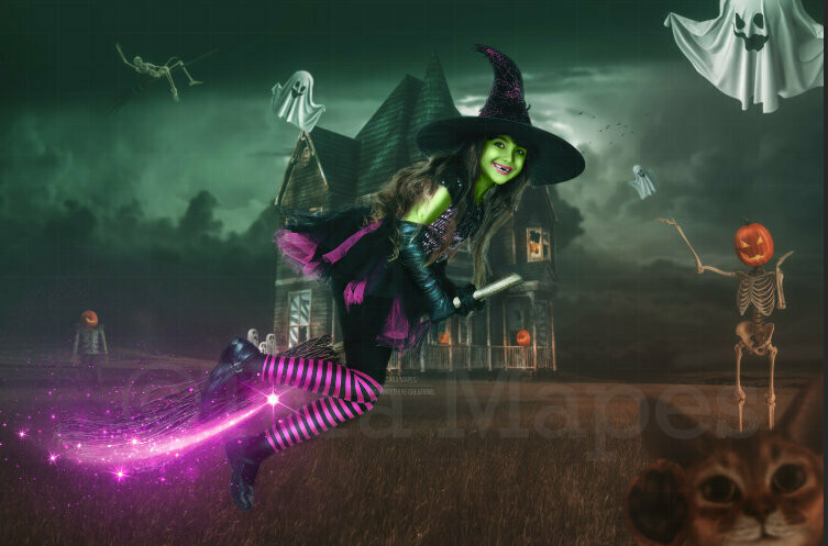 Halloween Haunted House -  Trick or Treating - Fun Spooky - Kid Friendly - Witch Digital Background / Backdrop