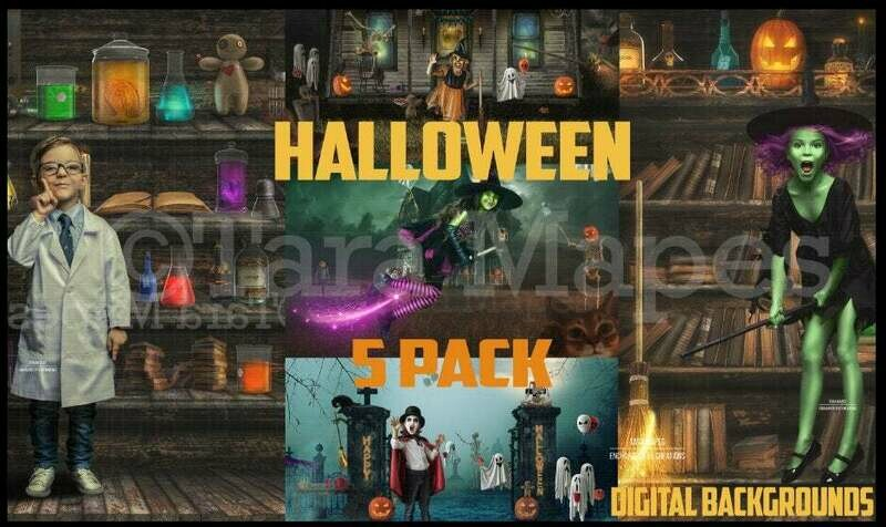 Halloween BUNDLE 5 PACK Digital Background Haunted House - Cemetery Party - Witch - Dracula  Kid Friendly - Digital Background / Backdrop