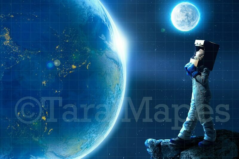 Outer Space  Planets Galaxy Astronaut Digital Background