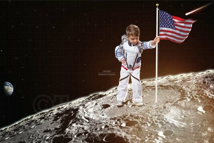 Outerspace Moon American Flag Astronaut Space Galaxy Digital Background