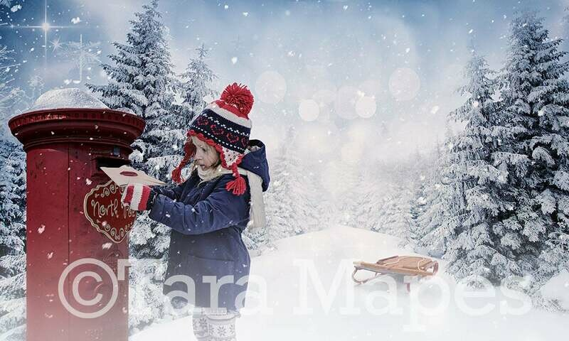 North Pole Mailbox Letters to Santa Christmas Digital Background