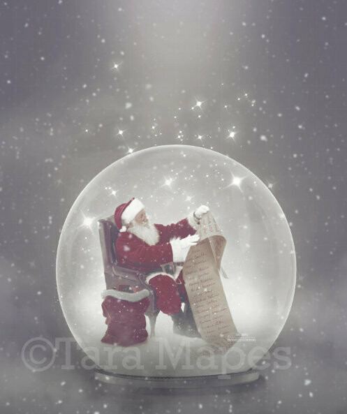 Santa Reading Santa's List inside Magic Snow Globe - Snowglobe Christmas Digital Background Backdrop