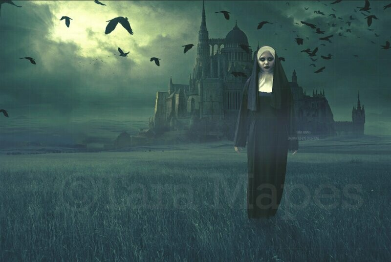 Haunted Castle Church - Spooky Foggy Field Halloween Witch Digital Background / Backdrop
