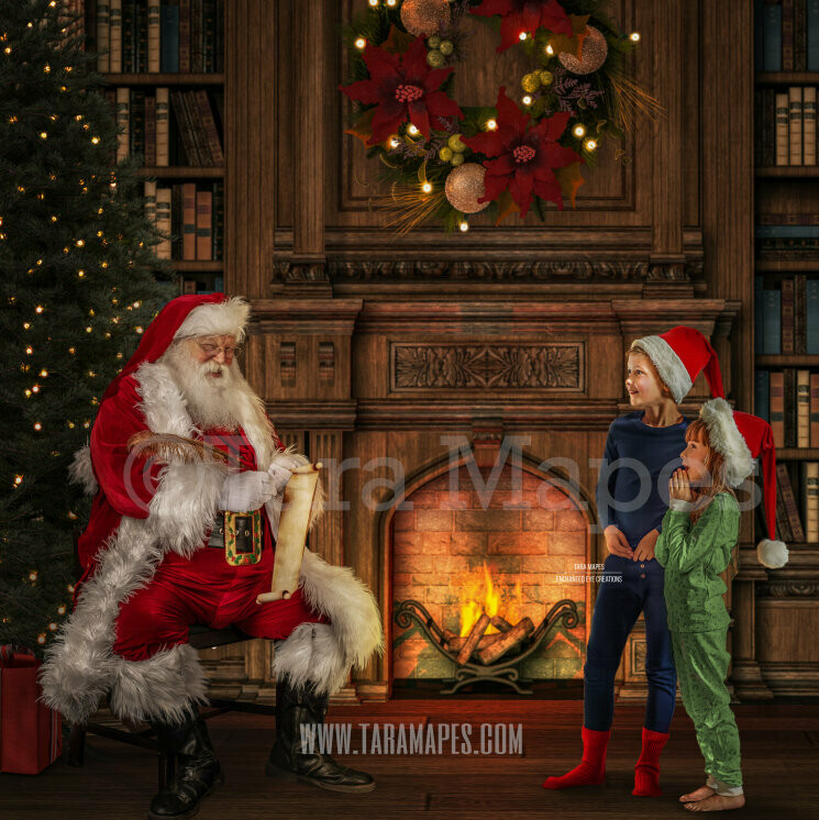 Santa with Good List Scroll - Santa by Fireplace - Santa Cozy Christmas Holiday Digital Background Backdrop