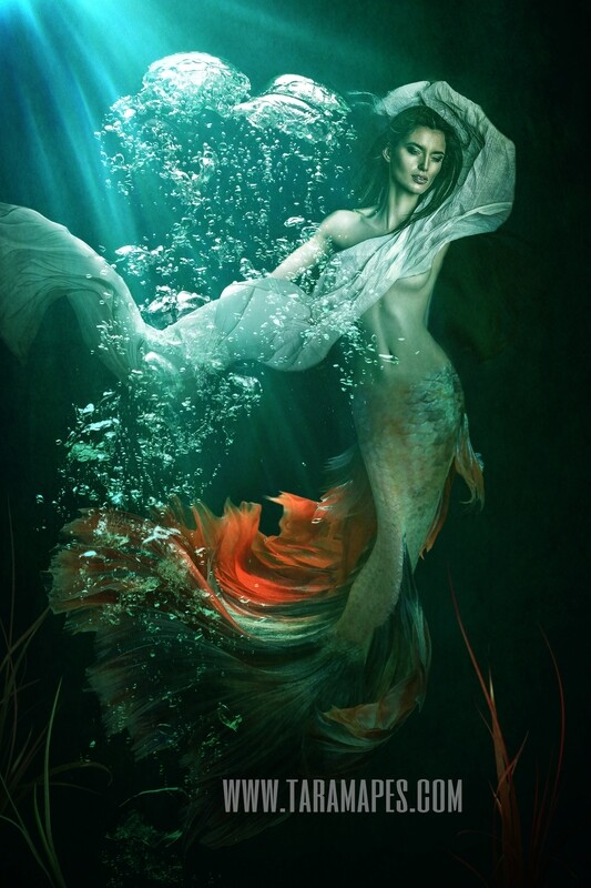 Realistic Dark Mermaid Underwater - Layered PSD Mermaid Digital Background Backdrop - Separate Element Layers -Tail Layer is Separate