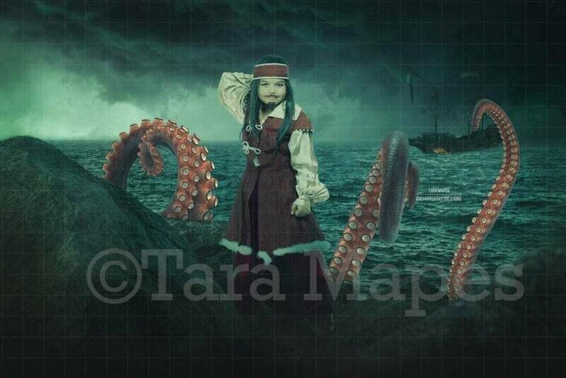 Pirate on Rocks in Ocean with Octopus Squid Stormy Pirate Ship Burning Digital Background