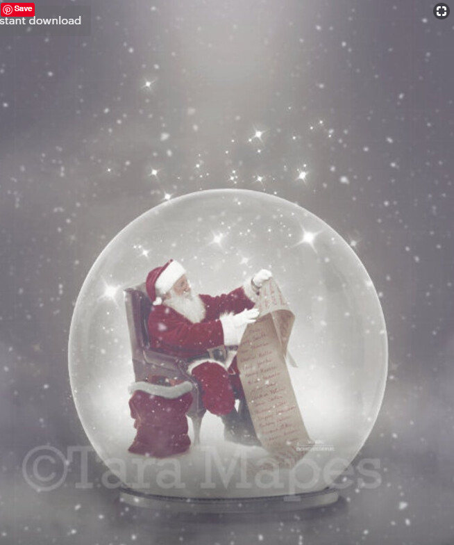 Santa Reading Santa's List inside Magic Snow Globe Digital Background Backdrop