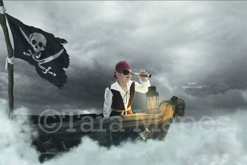 Pirate Ship in Clouds Fantasy Scene Digital Background Backdrop