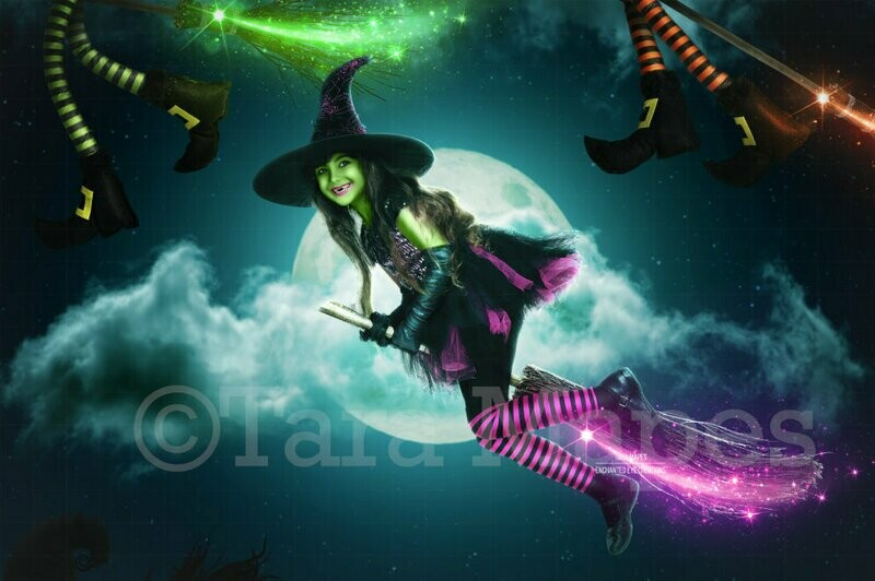 Halloween Witch Race -  Witch Background - Fun Spooky - Kid Friendly - Witch Digital Background / Backdrop
