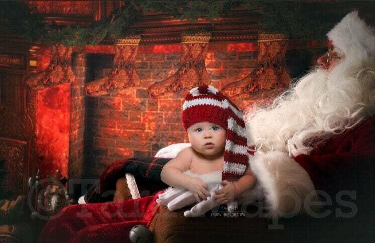 Sitting on Santa's Lap by Fireplace Christmas Digital Background Backdrop