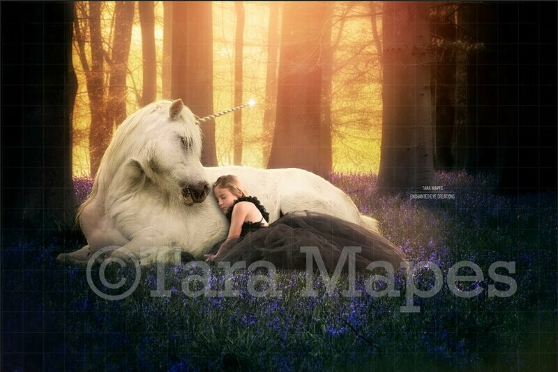Unicorn in Magical Bluebell Forest Digital Background / Backdrop