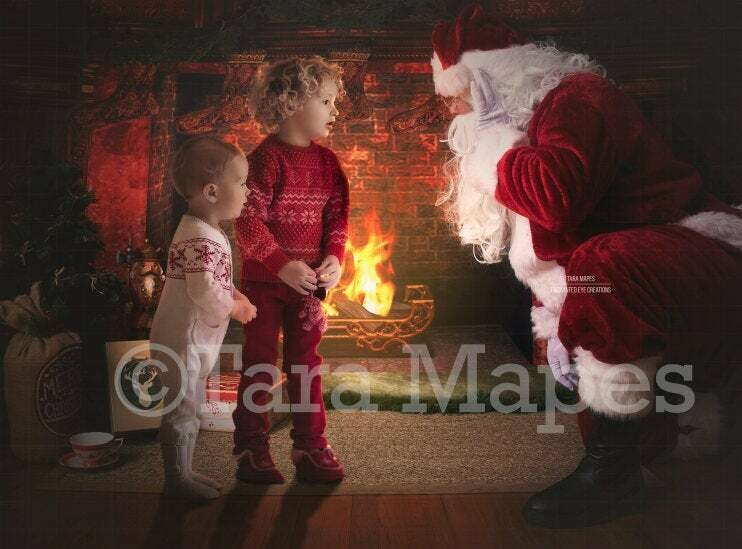 Telling Santa a Secret by Fireplace Christmas Digital Background Backdrop