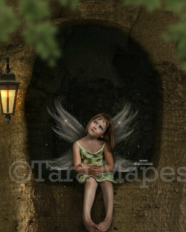 Tree Hole House in Enchanted Forest Digital Background / Backdrop