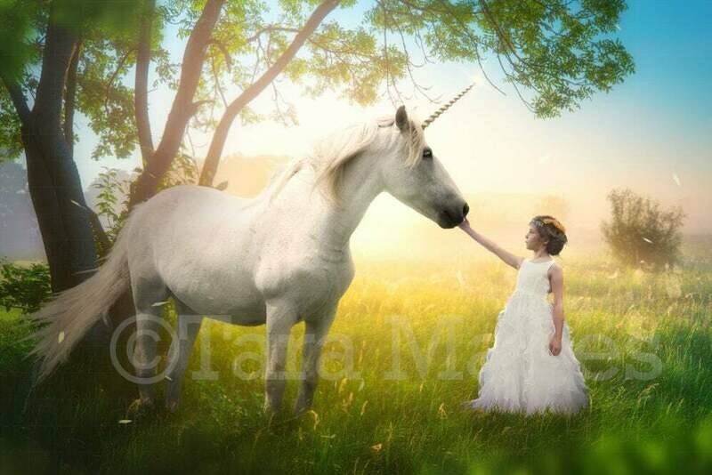 Unicorn in Field by Tree with Sun Creamy Digital Background Backdrop