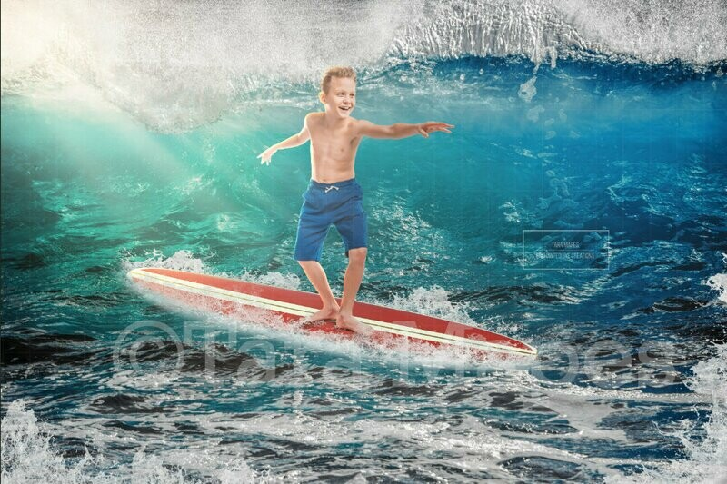 Surfboard Surfer in Ocean Digital Background Backdrop