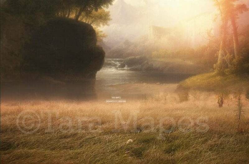 Magical Painterly Creamy Field by Castle - by a Fairytale Forest Castle Digital Background