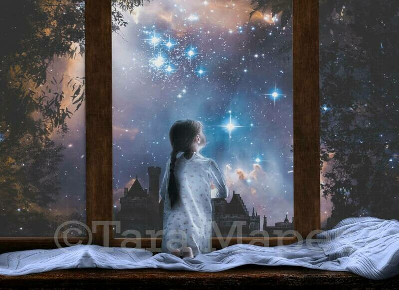 Starry Window at Night Magic Digital Background Backdrop