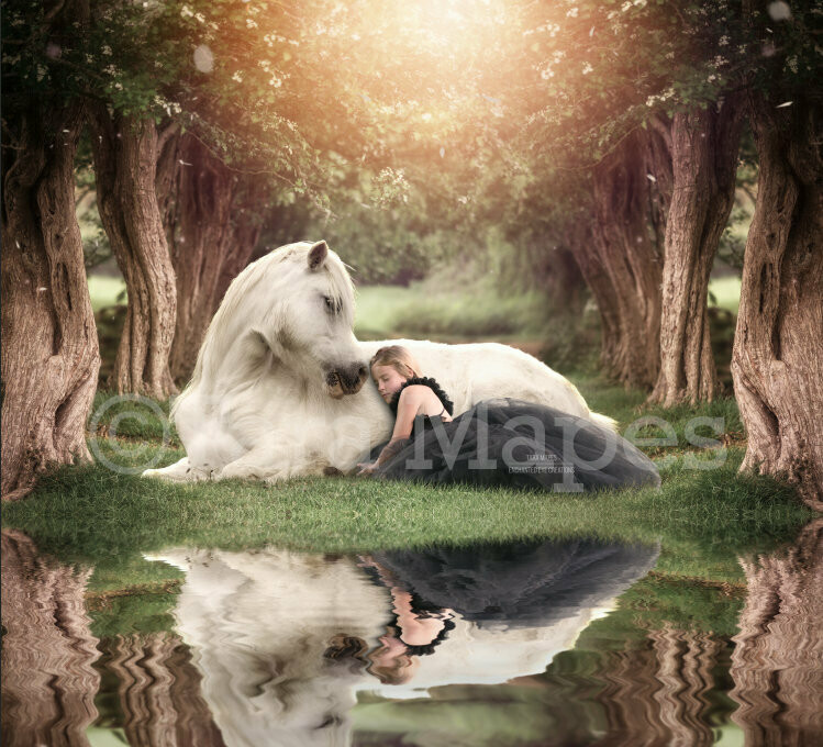 White Horse in Creamy Tree Tunnel by Lake Digital Background / Backdrop
