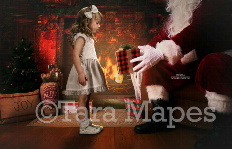 Santa Giving a Gift by Fireplace Christmas Digital Background Backdrop